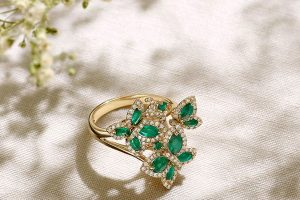 Emeralds and Diamond Butterfly Ring