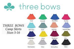 three bows camp skirt